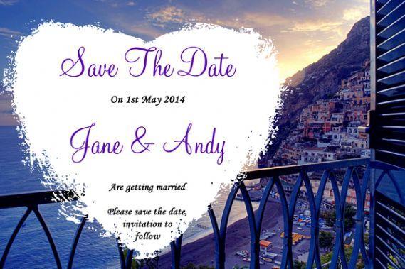 Costa de Amalfi Italia Corazón Personalizado Bodas Save The Date Tarjetas ()