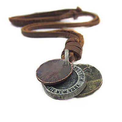Men Women Retro Cool 3 Coins Pendant Charm Choker Genuine Leather Necklace New