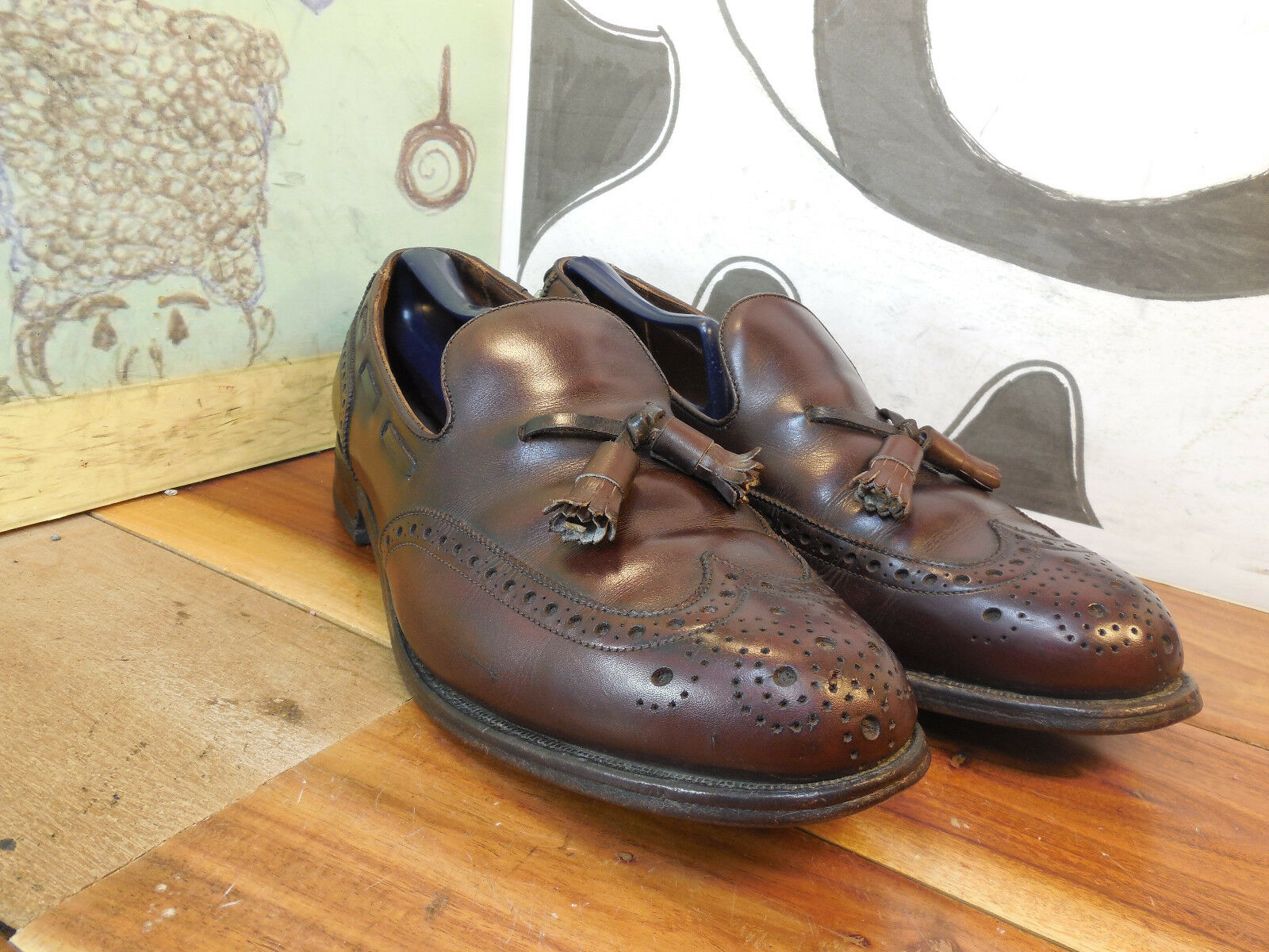 FootJoy Brown Leather Wingtip Tassel Loafers Men's 9.5D Made in USA