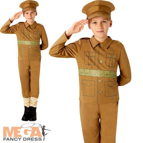 Ww1 SOLDATO Ragazzi Costume Militare dell/'Esercito 1910s Per Bambini Costume Outfit