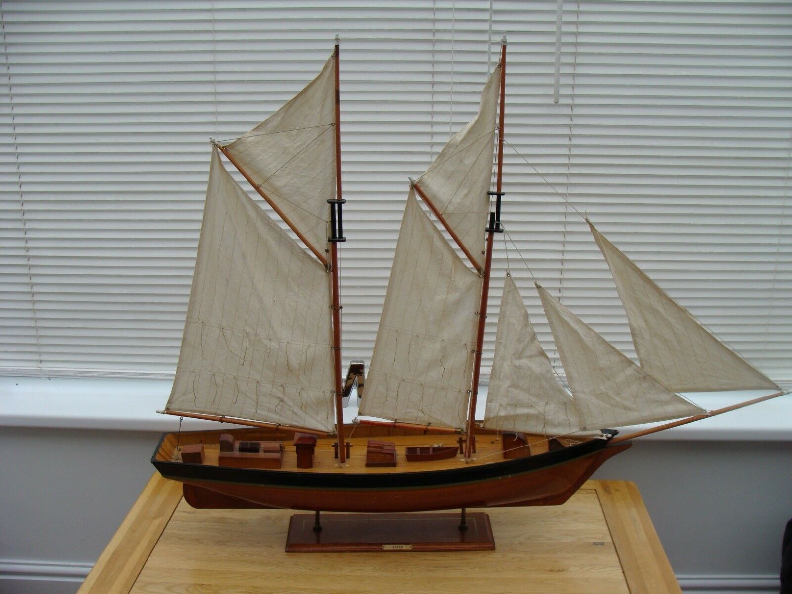 Large Wooden Model Sailing Ketch Little TLC Needed  49  Long