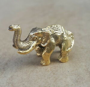 """JUBILANT ELEPHANT"" THAI AMULET BRASS FIGURINES MINIATURE STATUE WEALTH LUCKY"