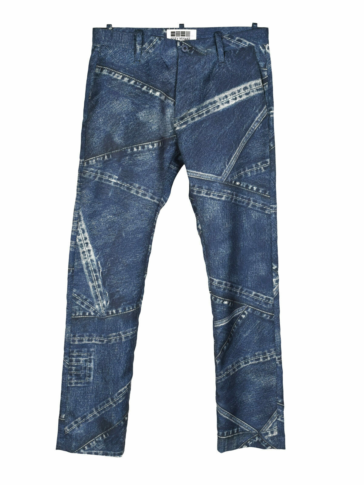 Issey Miyake denim denim denim print skinny trousers b2f377