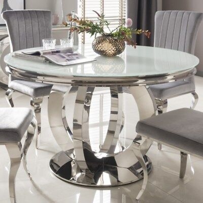 White Glass Top Polished Metal Round Dining Table Dia130cm