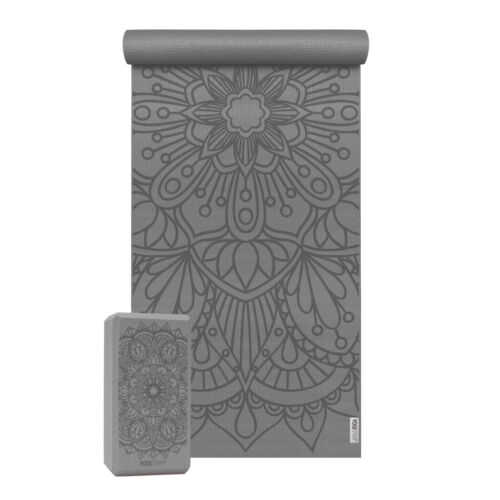 Yogamatte + 1 Yogablock Yoga-Set Starter Edition Lotus Mandala von Yogistar