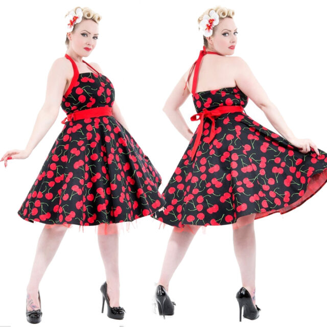 Hearts & Roses Black Red Cherry Print 50s Retro Rockabilly Swing Halter Dress