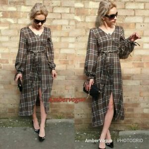 Zara-Check-Taupe-Brown-Belted-Button-Up-Wool-Blend-Long-Puff-Sleeve-Dress-XS-S-M