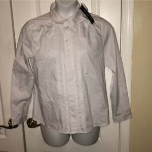 Petite Button White Down shirt ZacRachel Front WED9IHY2