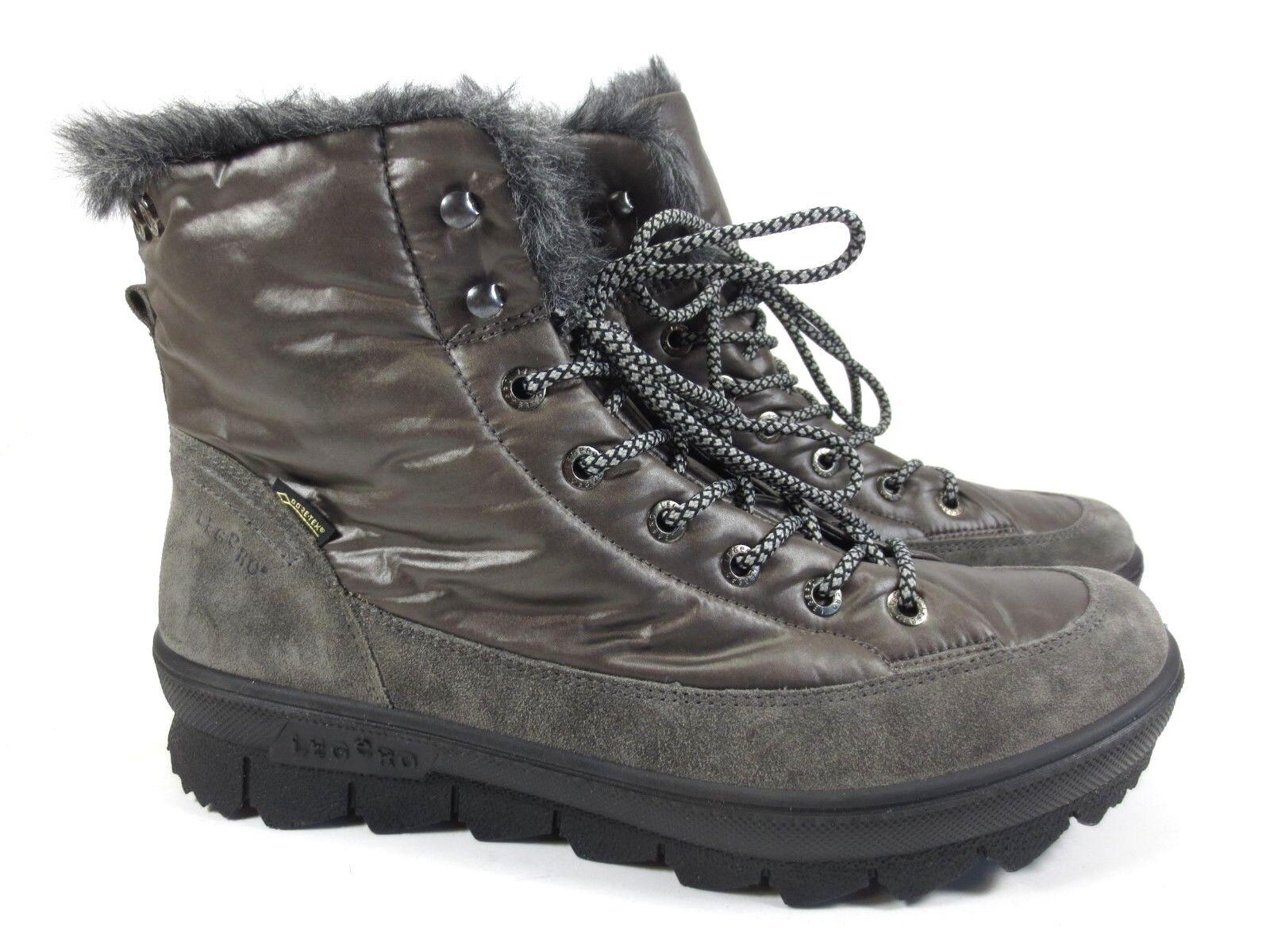 Legero botas de invierno Zapatos de piel caliente gore tex talla 42 UK 8 gris NUEVO