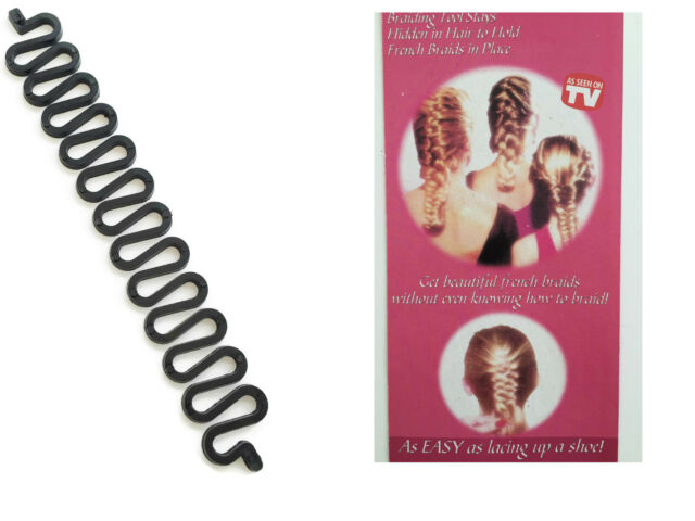 Braiding Hair Styling Tool in Black Plastic for Plaited Hair French Braids