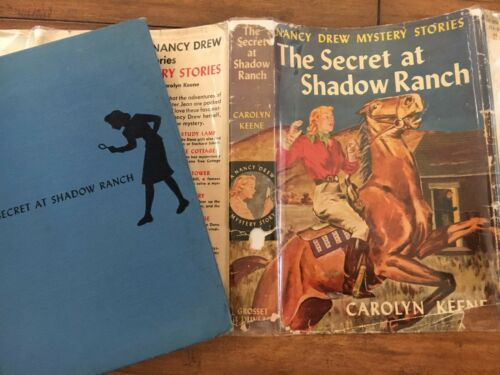"""THE SECRET AT SHADOW RANCH"" NANCY DREW #5 BSEP SOLID BLUE HOLE IN SPINE"
