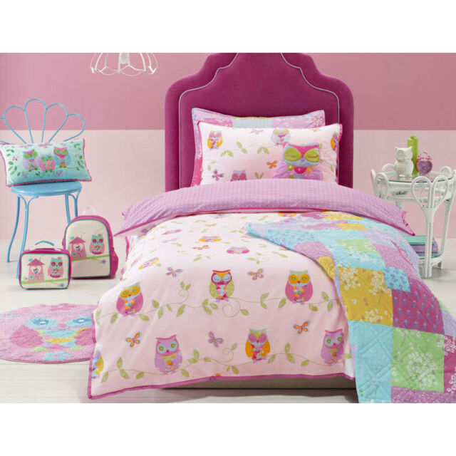 Jiggle and Giggle Owl Song Girls Doona Quilt Cover Set Single Double Queen Size