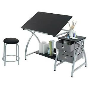 Drafting Drawing Table Stool Artist Desk Studio Office Adjustable Craft  Work 3pc