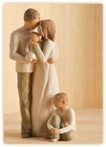 Willow-Tree-Mother-amp-Father-with-Baby-amp-Son-Figurine-Gift-Set-Family-Group