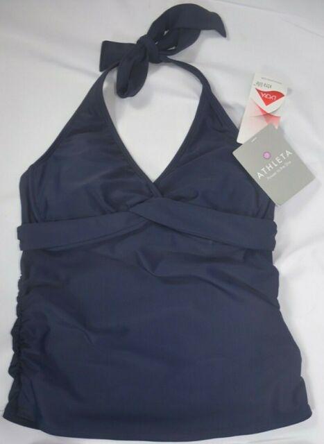 NWT $72 Athleta Twister Tankini Swim Top Dress Blue Sold Out Online #964875