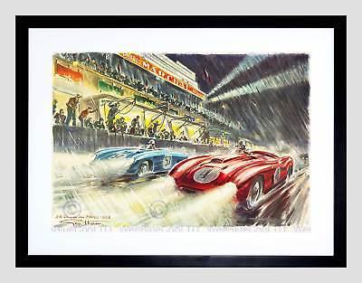 "Sport Ad Motor Race Le Mans 24 Hour Speed Car Classic Framed Art Print 12x16/"""