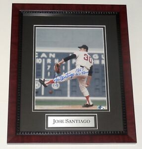 JOSE SANTIAGO AUTOGRAPHED 8X10 PHOTO (FRAMED & MATTED) - BOSTON RED SOX!