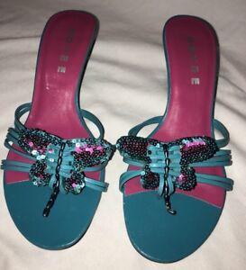 b5c7bb8ec5fc Doyee Designer Womens Strap Blue Butterfly Heel Thong Sandals Size 7 ...