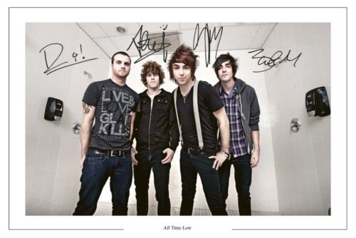 ALL TIME LOW FULL BAND SIGNED PHOTO PRINT AUTOGRAPH DIRTY WORK