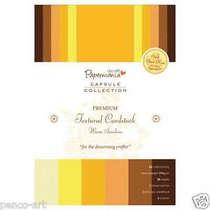 Papermania-A5-capsule-30-pk-card-stock-039-Warm-Sunshine-039-Yellow-Lemon-Orange-Brown