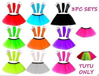 Ordentlich New Neon Tutu Skirt Fancy Dress Set 3pc Legwarmers Fishnet Gloves 80's Hen Party