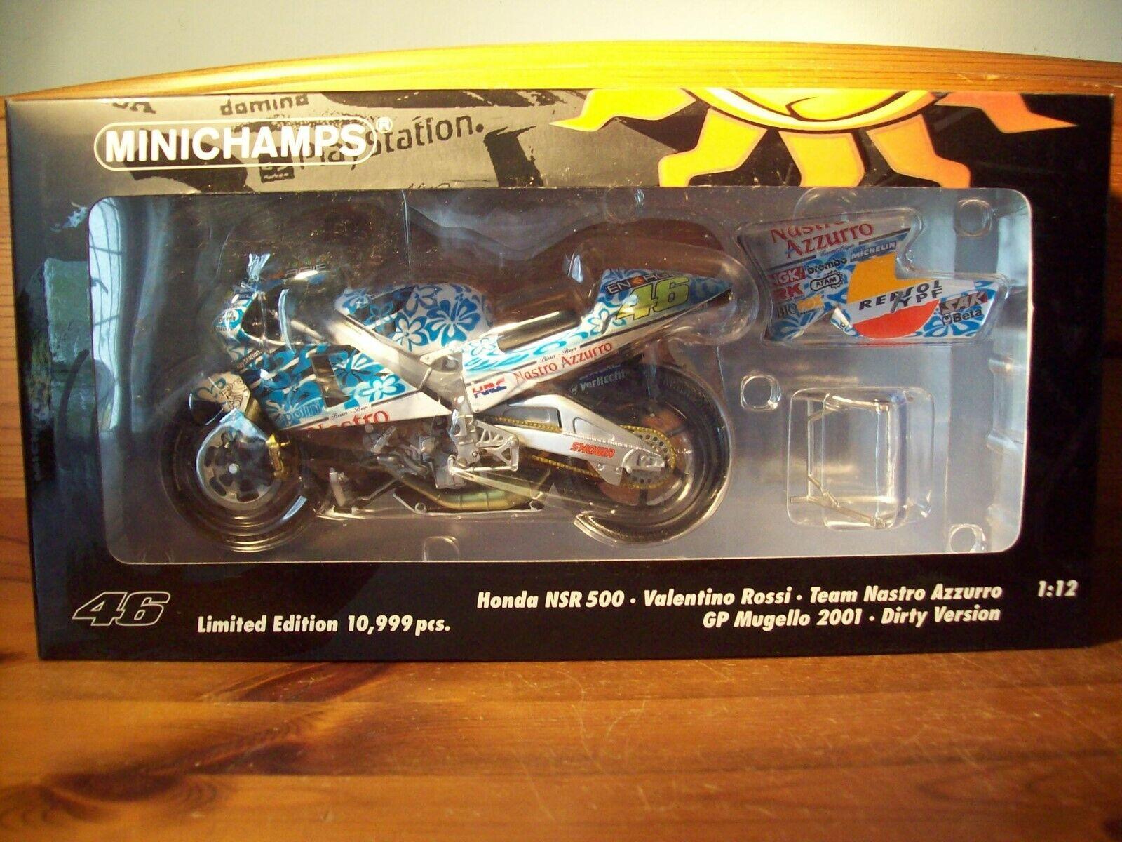 1 12 MINICHAMP 122 016186 VALENTINO ROSSI HONDA NSR500 MOTOGP 2001 MUGELLO DIRTY