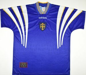 Image is loading 1996-1998-SWEDEN-ADIDAS-AWAY-FOOTBALL-SHIRT-SIZE- e34456346