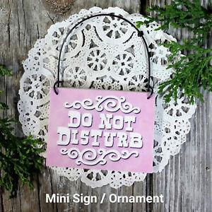 DECO-Mini-Wood-Sign-DO-NOT-DISTURB-Door-Knob-Hanger-Pale-Pink-Everyday-Ornament
