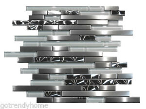 Stainless Steel Brushed Nickel Swirl Glass Mosaic Tile ...