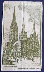 Vintage-Retro-Souvenir-Unused-LINEN-Tea-Towel-St-Paul-Cathedral-Melbourne-Church