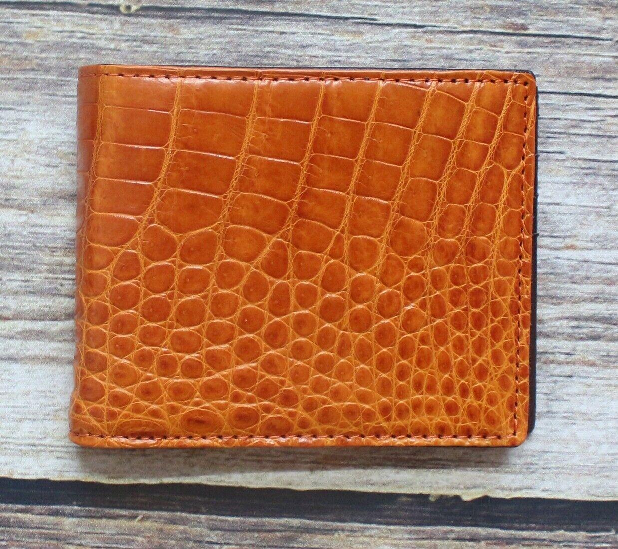 Genuine Crocodile Alligator Belly Skin Leather Man Bifold Brown Portable Wallet