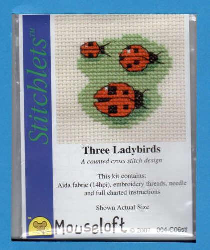 trois Ladybirds Stitchlets xstitch Kit par mouseloft