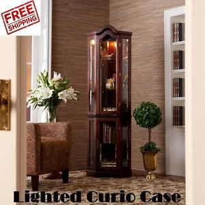 Genial Image Is Loading Lighted Display Cabinet Glass Corner Curio Case Shelves