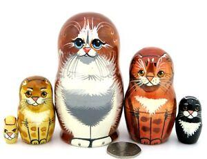 Nesting-Dolls-Matryoshka-Russian-small-5-Ginger-Black-Tabby-Cat-Kitten-signed