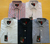 Mens Short Sleeve Summer Check Shirts M - XXL Cotton Blend