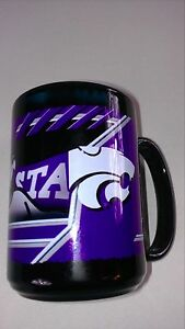 Kansas-State-Wildcats-Coffee-Mug-4-5-034-KSU-Cup-Black-Purple-Big-12-College-Drink