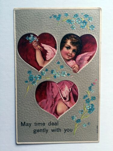 1911 Valentine's Day Postcard Hearts w Cupid in Them May Time Deal Gently