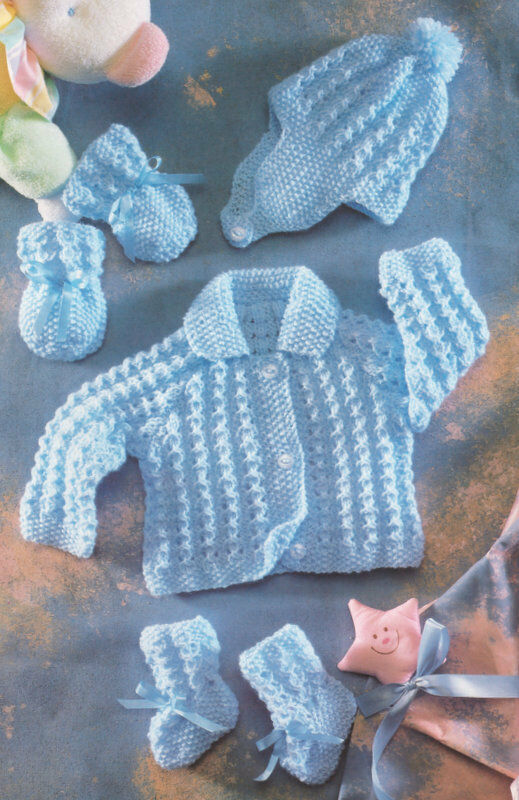 "22/"" To Knit Moss//Diamond Baby Jacket Hat Mitts Bootees /& Blanket DK 16/"""