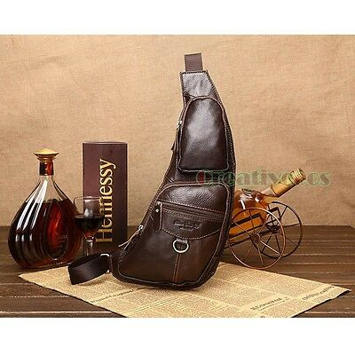 Men's Genuine Leather Travel Hiking Riding Motorcycle Messenger Sling Chest Bag