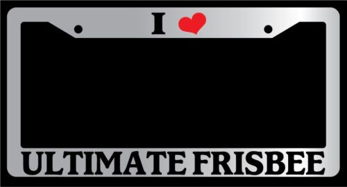 "Chrome License Plate Frame /""I Heart Ultimate Frisbee/"" Auto Accessory Novelty"