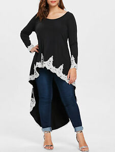 096adf74aba54 Details about Fashion Plus Size Elegant Women Long Sleeve Lace High Low T-Shirt  Top Blouse Tee