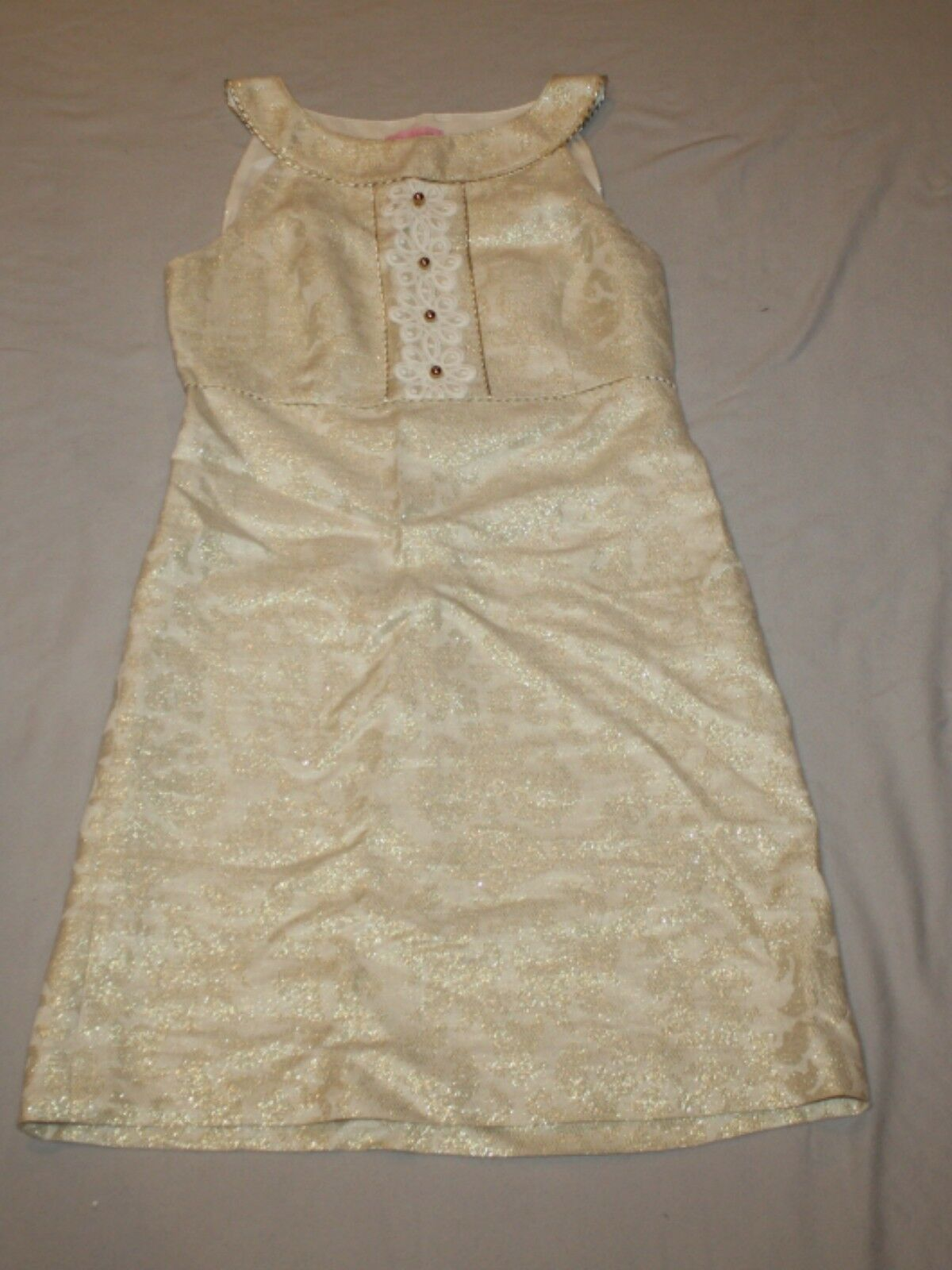 Women Lilly Pulitzer Jacqueline Dress gold Metallic Holiday Size 2