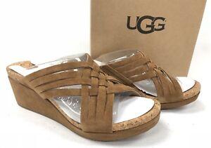 UGG WOMEN'S LILAH Wedge Slide Chestnut Suede Wedge Sandals