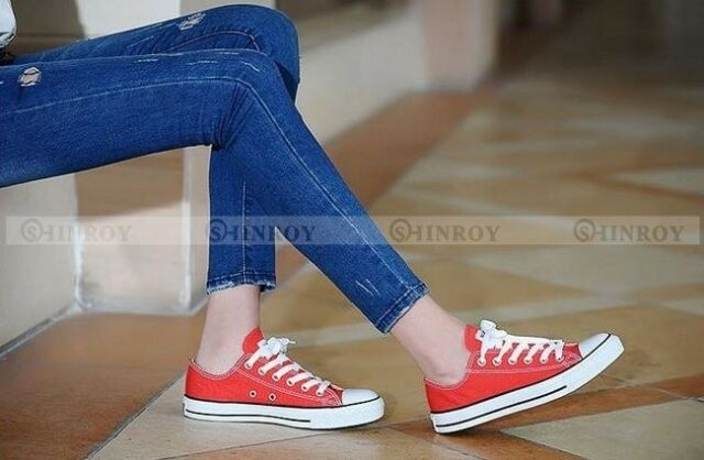 Womens Low Help Sneakers Classic Lace Up Canvas  Flat Fashion Plimsoll Shoes