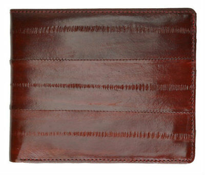 EEL SKIN Leather Wallet Burgundy Wine Billfold Mens Credit Card Slim Thin Soft
