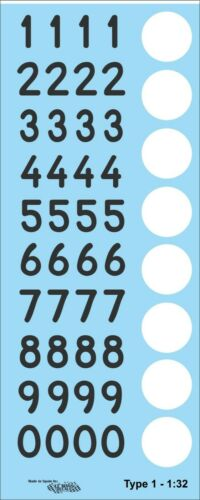 Decals numbers Targa Florio N 1:32 1:24 1:43 1:18 números numériques calcas