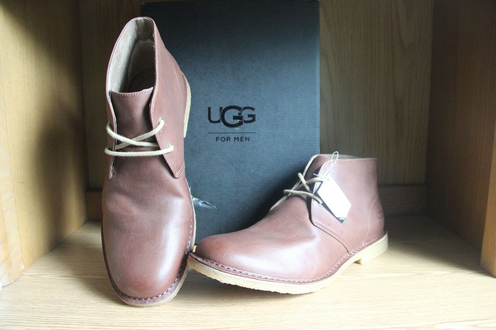 54b52bf0bd7 UGG Australia Mens Leighton Lace up Casual Chukka Ankle BOOTS 13