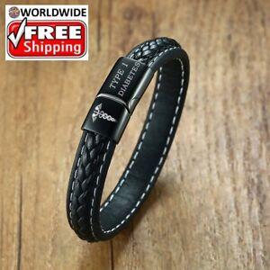 Type 1 2 Diabetic Bracelet Leather Woman Men Medical ID Alert Epilepsy Bracelets