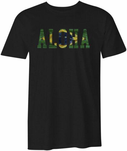 Aloha Brazil Brasil Surf Surfing Beach Life Cotton Semi-fitted Tee T-shirt