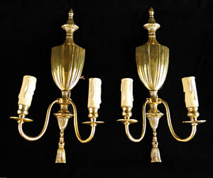 ANTIQUE-FRENCH-STYLE-EMPIRE-bronze-paire-de-lumiere-solide-Bronze